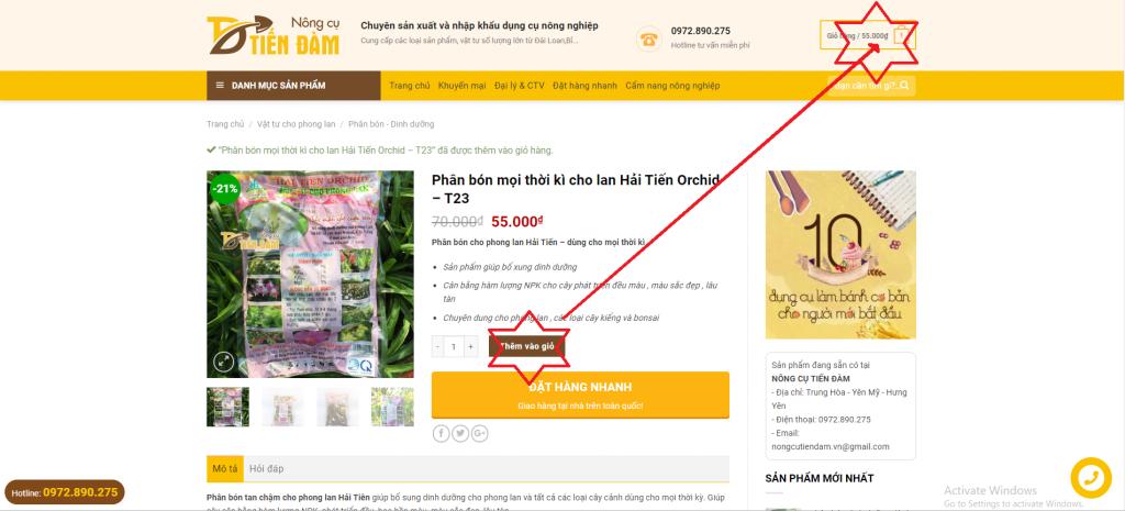 Hướng dẫn mua hàng trên Website Nông cụ Tiến Đàm