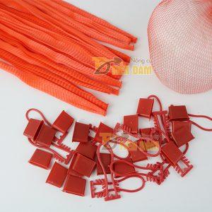 1kg Túi lưới nhựa đỏ dài 25cm kèm khóa