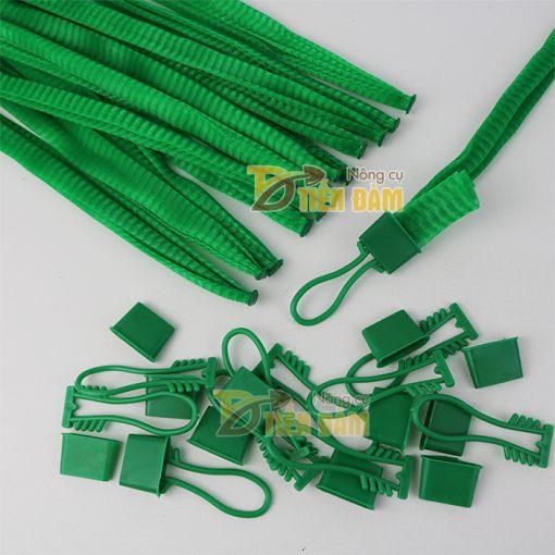 1kg Túi lưới nhựa màu xanh dài 25cm kèm khóa