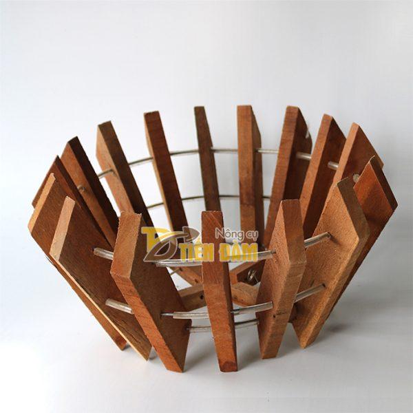 Chậu gỗ trồng lan hình quả bí phi 27cm - CG2