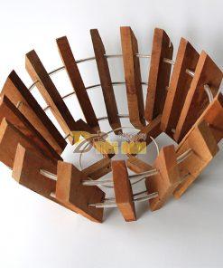 Chậu gỗ trồng lan hình quả bí phi 27cm – CG2