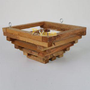 Chậu gỗ trồng lan hình vuông vát đáy – set 3 chiếc – CG5
