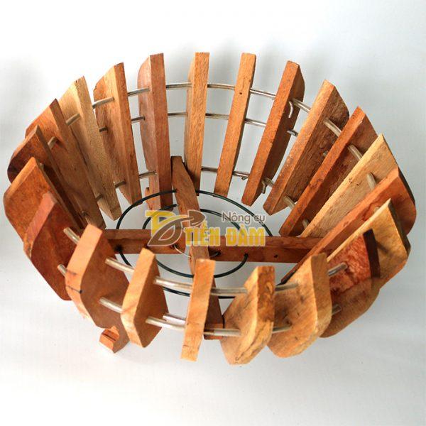 Chậu gỗ trồng lan hình quả bí phi 25cm - CG1
