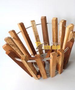 Chậu gỗ trồng lan thanh gỗ bản vuông phi 20cm – CG4
