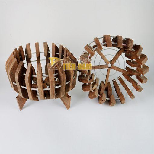 Chậu gỗ trồng lan hình quả bí phi 27cm - CG7
