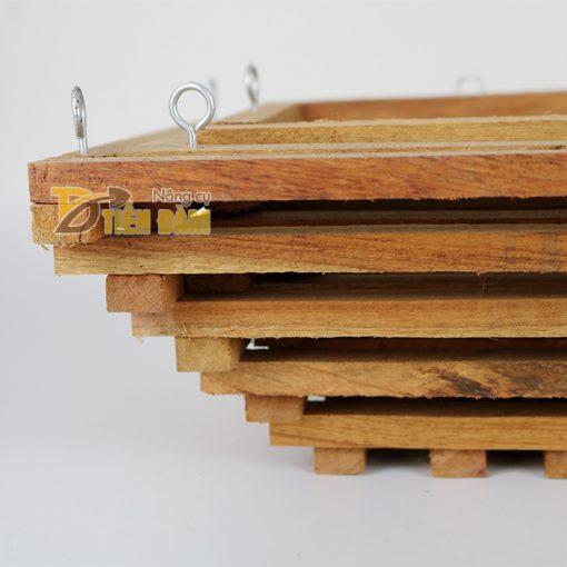 Chậu gỗ trồng lan hình vuông vát đáy - set 3 chiếc - CG5