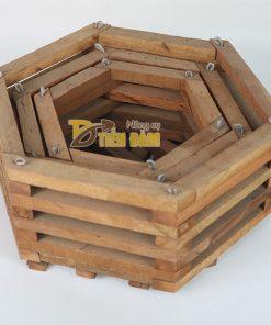 Chậu gỗ trồng lan hình lục giác – set 3 chiếc – CG6