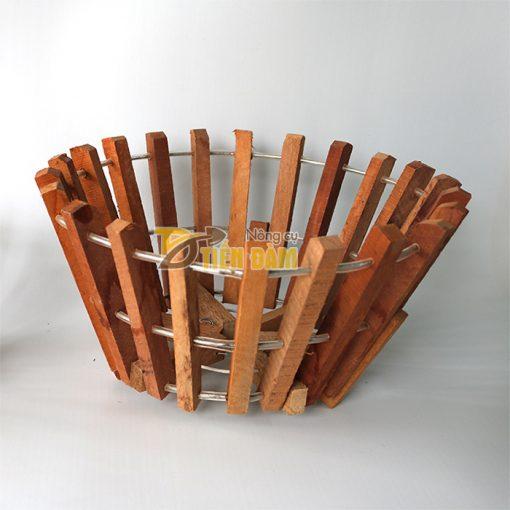 Chậu gỗ trồng lan thanh gỗ bản vuông phi 30cm - CG3