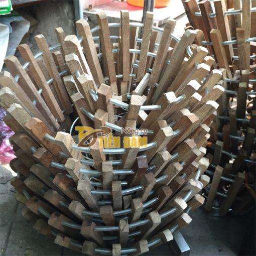 Chậu gỗ trồng lan thanh gỗ bản vuông phi 20cm - CG4