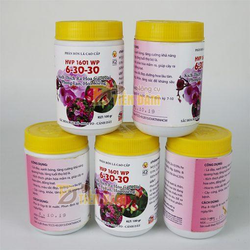 Phân bón lá kích hoa cho lan HVP 1601 6-30-30 - Lọ 100g - T122