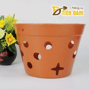 Chậu nhựa trồng lan giả đất nung phi 23 cm - CN15
