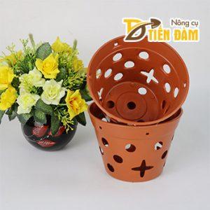 Chậu nhựa trồng lan giả gốm phi 17 cm – CN13