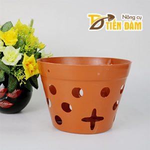 Chậu nhựa trồng lan giả gốm phi 17 cm - CN13