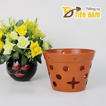 Chậu nhựa trồng lan giả đất phi 14,5 cm - CN12