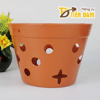Chậu nhựa trồng lan phi 27 cm giả gốm nung - CN16