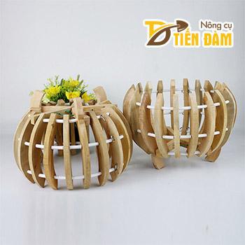 Chậu gỗ trồng lan hình quả bí - CG8