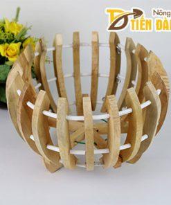Chậu gỗ trồng lan hình quả bí – CG8